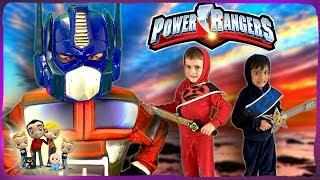 Power Rangers Vs Transformers!! Scary Fun Kids Parody