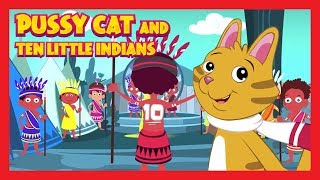 Pussy Cat and Ten Little Indians - Nursery English Rhymes || Kids Hut Rhymes - Animated Poems