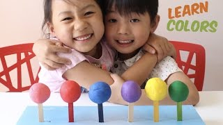 Learn Colors and Numbers with Play Doh Lollipop Candy for Children, Toddlers and Baby, Big lollipops
