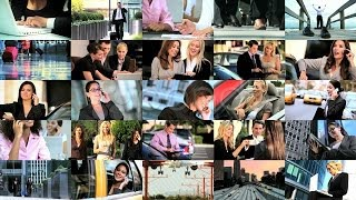 Montage of Business People and Wireless Technology. Stock Footage