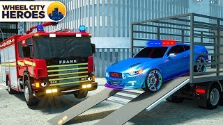 Fire Truck helps Sergeant Lucas the Police Car    +More Wheel City Heroes Cartoon for Kids Children