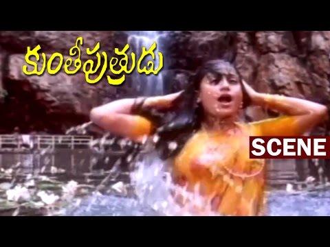 Vijayshanti  Bath Scene In Water Falls | Kunthi Putrudu | Mohan Babu | Vijayshanti |  V9 Videos