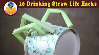 10 Drinking Straw Lifehacks And Tricks !