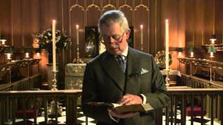 The Prince of Wales records a passage for the YouTube Bible