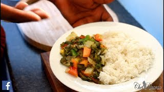 Steam callaloo with vegetables and  rice vegan recipe. Are vegetarian dish