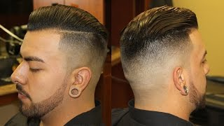 Slicked Back Pompadour with Bald Fade; pomp; scissor haircut; razor fade; side part