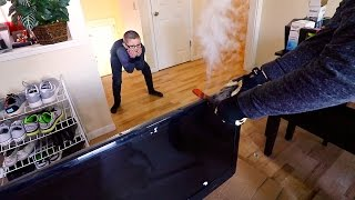 EXPERIMENT Glowing 1000 degree KNIFE VS MY KIDS TV!
