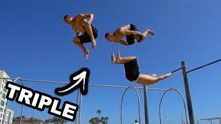 Triple Flip And Parkour at Santa Monica Beach!