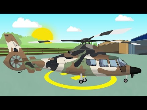 Military Helicopter | Animation for children