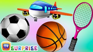 Surprise Eggs Nursery Rhymes Toys | Three Little Kittens - Games | Learn Colours & Sports Equipments