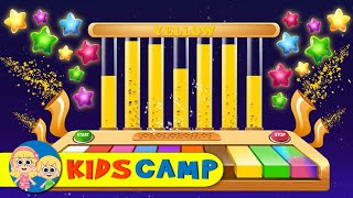 Learn Colors With WOODEN XYLOPHONE Piano STARS Color Finger Family Songs & Nursery Rhymes KidsCamp