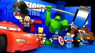 WEIGHT LIFTING Competition 🏋️‍♂️ LEGO CARS Team Avengers Justice League Animation 💪 LEGO Cartoon