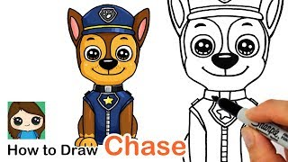 How to Draw Chase Easy | Paw Patrol