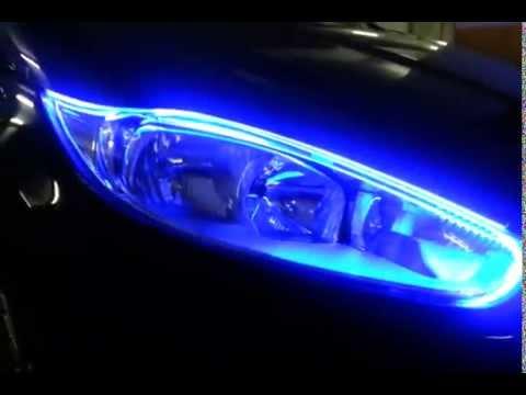 Farol New Fiesta com barra de led silicone branco azul