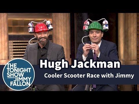 Cooler Scooter Race with Hugh Jackman