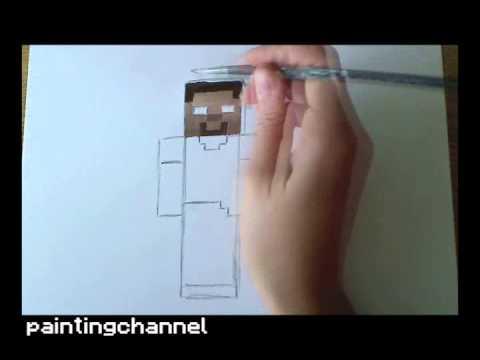 how to draw paint herobrine minecraft daikhlo