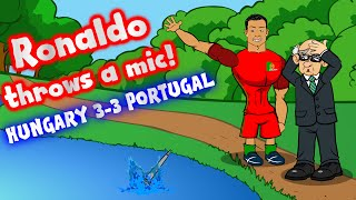 Ronaldo throws a microphone into a lake! HUNGARY 3-3 PORTUGAL (goals highlights Euro 2016 parody)