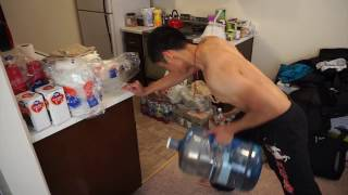 Skinny Guy Back Workout with dumbbells and modified weights (water bottles)