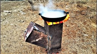 Homemade camping rocket stove