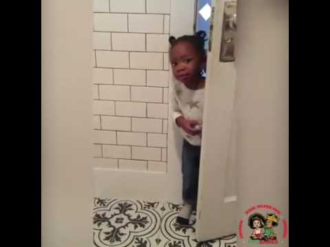 Mom tries to use the bathroom in peace