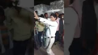 One man dancing with two cycle wheel