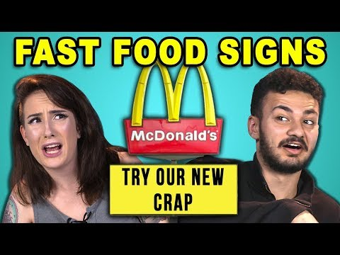 ADULTS READ 10 FUNNY FAST FOOD SIGNS REACT