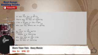 More Than This - Roxy Music Drums Backing Track with chords and lyrics