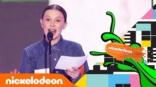 Millie Bobby Brown's Meaningful Speech After First Blimp Win 💚| Kids' Choice Awards 2018 | Nick