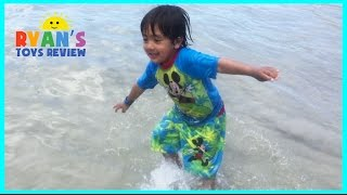 FAMILY FUN TRIP TO BEACH Ryan ToysReview playtime in the sand Kids Video