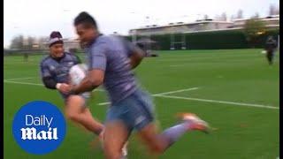 Fekitoa tackles Savea during New Zealand training - Daily Mail