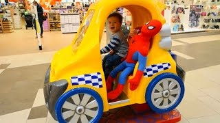 CAR FOR KIDS WITH SPAIDERMAN Drive helicopter with Spiderman  funny kids video