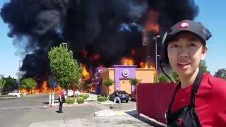 Workers flee after tanker fire explodes outside restaurant