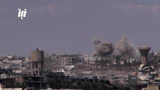قصف جوي مستمرعلى أحياء درعا البلد بالبراميل المتفجرة وصواريخ الطيران الحربي