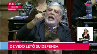 El descargo de Julio De Vido durante el debate por su expulsión