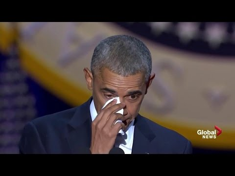 Obama tears up while speaking about wife daughters during farewell speech
