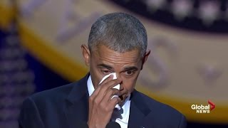 Download Obama tears up while speaking about wife, daughters during farewell speech 3Gp Mp4