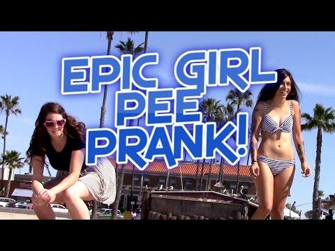 Epic GIRL Pee Prank! (HOT GIRL FALLS OVER)