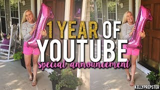 1 YEAR OF YOUTUBE SPECIAL ANNOUNCEMENT!!! Kellyprepster