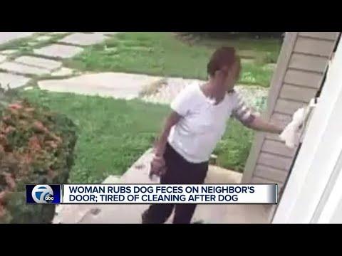 Woman rubs dog feces on neighbor's door