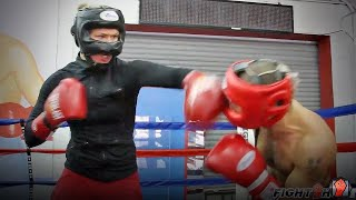 Ronda Rousey and Vic Darchinyan sparring
