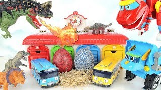 Dinosaurs T Rex Steal Eggs. Dinosaur Walking And Laying Eggs With Tayo Garage~ Fun Dino Toys.