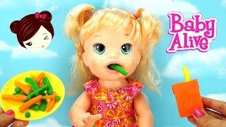 Bebe Alive Come Papilla de PLAY DOH - Sara Comiditas Divertidas Muñeca Baby
