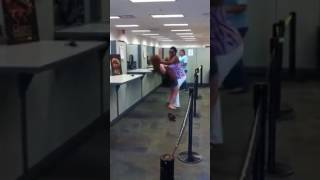 Don't mess with a black person - black and white women fighting in the bank