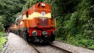 Train Passing through Goa Dudhsagar Falls awsome view