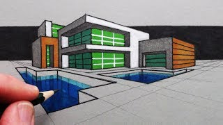 How to Draw a Modern House in Two Point Perspective