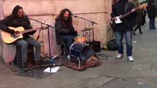 The Police, Message in a Bottle - busking in the streets of London, UK
