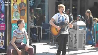 Two young Guys Busking in Leeds , Johnny B Goode Chuck Berry Cover