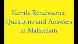 Kerala Renainssance Questions