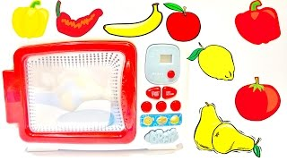 Learn Names of Fruits & Vegetables In English For Children Play Doh and Microwave Oven Toy Videos