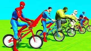 Learn Colors Spiderman Cars & Motor Cycle for Kids - Superheroes Cartoon w Songs for Babies